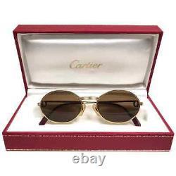 Mint Vintage Cartier St Honore 49mm Gold Brown Lenses Sunglasses France 18k