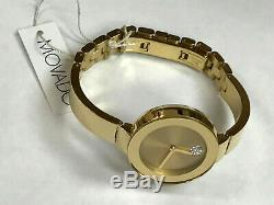 Movado Bold 3600201 Champagne Dial Gold Ion-plated Ladies Quartz Watch WARRANTY