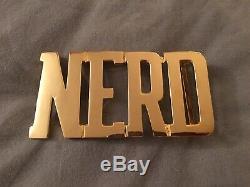 N E R D Gold Plate Belt Buckle Nerd Billionaire Boys Club A Bathing Ape Pharrell