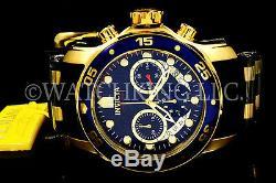 NEW Invicta Men Scuba Pro Diver Chrono 18K Gold Plated Blue DialS. S Poly Watch