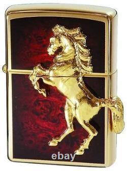 NIB Winning Winnie Horse Metal Gold Plated Zippo Lighter Authentic DEEP RED