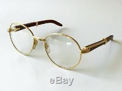 NOS vintage CARTIER BAGATELLE eyeglasses sunglasses gold plated rose wood 52/18