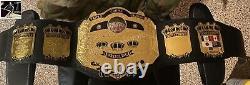 NWA Triple Crown World Championship Leather Belt 2MM Brass Metal Plates