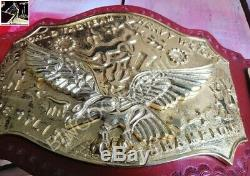 NWA World Tag Team Championship 7 Plate Cast 4MM Brass Metal Red Leather Belt