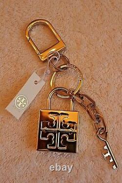 NWT Authentic TORY BURCH Gold Plated Padlock Key Fob Bag Charm with Gift Bag RARE