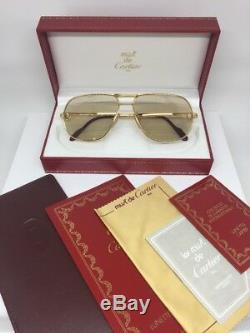 New Authentic Vintage Cartier Tank LC Sunglasses 22ct Gold Plated 1988 France