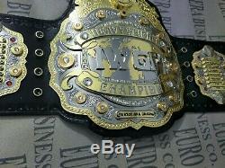 New IWGP V4 Championship Belt, Adult Size 24k Gold Metal Plates & Real Leather