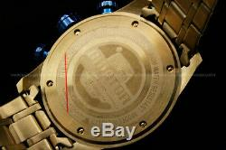 New Invicta MenAviator 18K Gold Plated Blue Dial Tachy S. S Chrono Bracelet Watch
