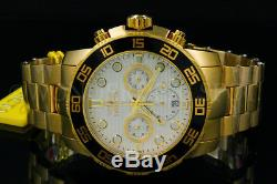New Invicta Pro Diver 50MM Chrono 18K Gold Plated Silver Dial S. S Bracelet Watch