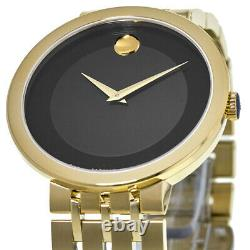 New Movado Esperanza Museum Dial Yellow Gold Plated Men's Watch 0607059