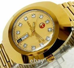 New Rado Diastar R12413493 Automatic Gold Plated Swiss Men's Wrist Watch
