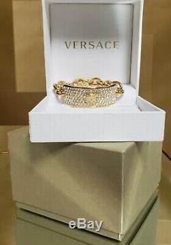 New Versace 24k Gold Plated Medusa Bracelet With Swarovski Crystals