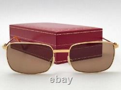 New Vintage Cartier 56mm Brushed Gold Brown Lenses Sunglasses France 18k