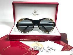 New Vintage Cartier Diabolo Black 53mm Full Set Art Deco Gold Plated Sunglasses