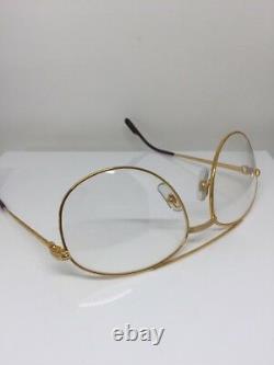New Vintage Cartier Driver Aviator Eyeglasses Gold Plated T8100311 60mm France