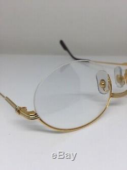 New Vintage Cartier Manhattan T8100354 Eyeglasses Oval Halfrim Gold Plate France
