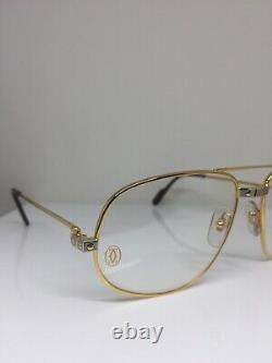 New Vintage Cartier Romance Santos Eyeglasses Gold Plated T8100018 61mm France