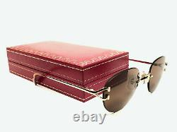 New Vintage Cartier Salisbury Rimless Gold Plated 18k Sunglasses France