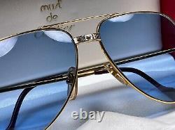 New Vintage Cartier Santos Screws 62mm Sunglasses Blue France 18k Heavy Plated