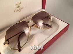 New Vintage Cartier Santos Screws 62mm Sunglasses France 18k Heavy Plated