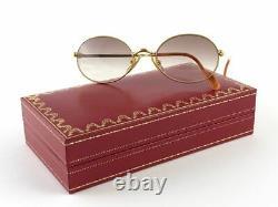 New Vintage Cartier Saturne 51mm Gold Plated Sunglasses France 18k