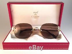 New Vintage Cartier Serrano Rimless Gold Plated 18k Sunglasses France