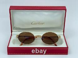 New Vintage Cartier Spider 50mm Brushed Gold Brown Lenses Sunglasses France 18k