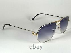 New Vintage Cartier Tank 59 14 Platine Sunglasses 18k Heavy Gold Plated France
