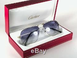 New Vintage Cartier Tank Platine 59 14 Sunglasses 18k Heavy Gold Plated France