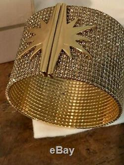 New in Box INDIA HICKS STAR CUFF BRACELET GOLD PLATED CRYSTAL BANGLE SOLD OUT