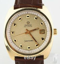 Omega Seamaster Automatic Gold-Plated Vintage Men's Watch with Brown Leather Band