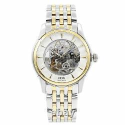 Oris Artelier Skeleton Steel Gold Plated Automatic Mens Watch 734-7670-4351MB