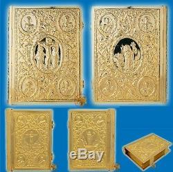 Orthodox Sculptured Metal Craft Gospel Cover Gold Plated Evangelium Evangelion
