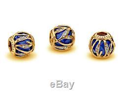 PANDORA Blue Natures Radiance Charm 14K Gold Vermeil 791969NCB 14K Gold Plated