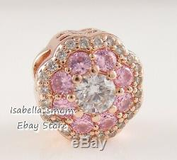 PINK SPARKLE FLOWER Authentic PANDORA Rose GOLD Plated Charm 787851NPM NEW w BOX