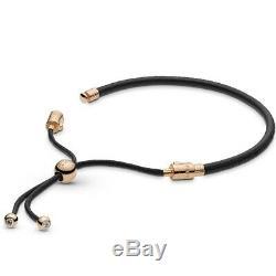 Pandora Rose Black Leather Sliding Gold Plated Charm Bracelet 588059CBK-2, Black