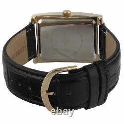 Peugeot 2051GBK Mens Vintage Rectangular 14K Gold Plated Leather Strap Watch