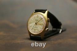 Poljot Signal Gold plated AU20 Alarm 18 J USSR mens wrist watch