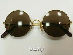 Rare Cartier Paris -Mayfair- 18k Gold plated Round sunglasses Made in France