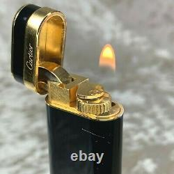 Rare Vintage Cartier Gas Lighter Black Lacquer 18K Gold Plated Ring with Case
