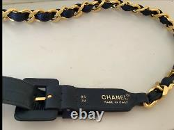 Rare Vintage Chanel Gold Plated Chain Link And Leather Belt