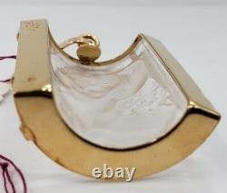 Rene Lalique -Paris Enfant Pendant Glass Panel Gold Plated Gilt Metal 1990