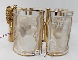 Rene Lalique -Paris Enfants Bracelet Glass Panels Gold Plated Gilt Metal 1990