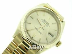 Rolex Mens Solid 18k Yellow Gold Datejust withGold Plated President Style Band