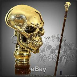 Skull Cane Walking Stick Silver Plated Gold tone Knob Handle Goth halloween men