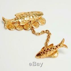 Sonia Rykiel Vintage Gold Metal Fish Brooch Pendant With Connector