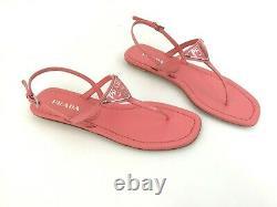 Sz. 39 PRADA Triangle Logo Plate Thong Sandal Pink Patent Leather Slide Shoes