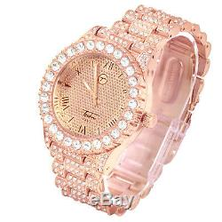Techno Pave Men's Rose Gold Plated Icy CZ Metal Band Watches WM 8719 RG