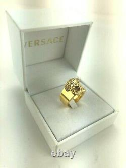VERSACE Palazzo Medusa Head Gold Plated Signature Simple Band Ring 11