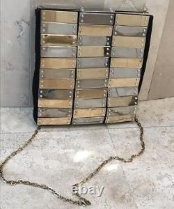 Valentino Rare Silver & Gold Plate Evening Bag Stunning 100% Authentic